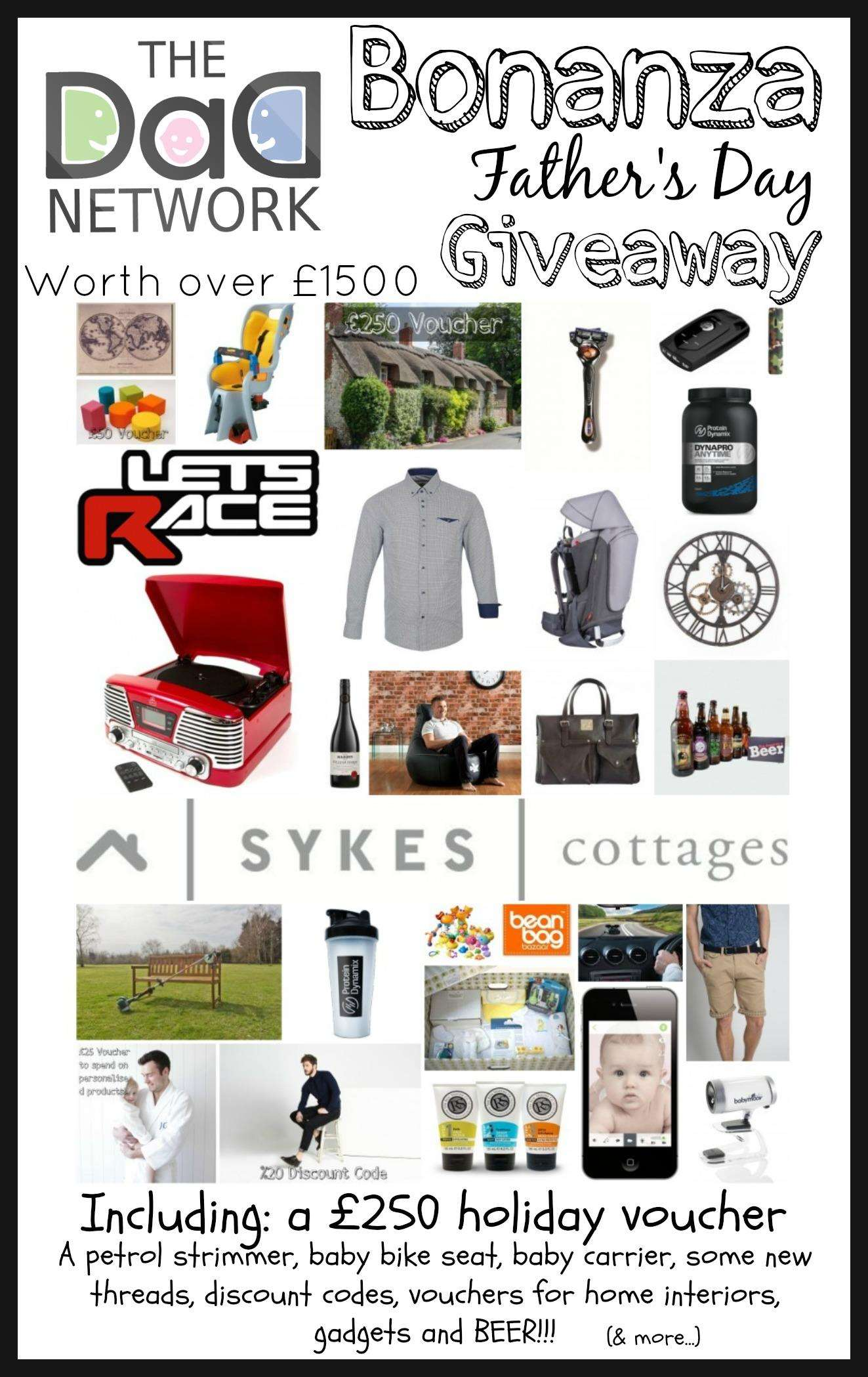 Father's Day Free Giveaway Bonanza - Win over £1500 freebies! Plus a £250 Holiday voucher!, Bonanza Artwork%, new-dad%