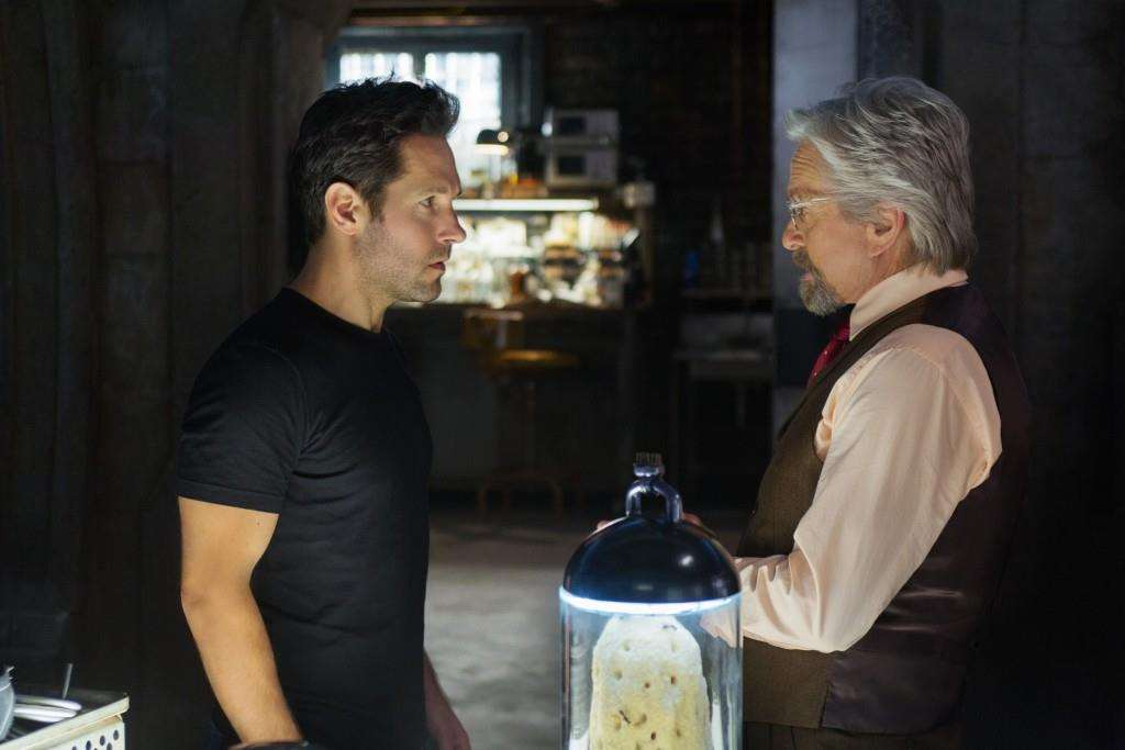 Marvel's Ant-Man..L to R: Scott Lang/Ant-Man (Paul Rudd) and Hank Pym/Ant-Man (Michael Douglas)..Photo Credit: Zade Rosenthal..© Marvel 2014