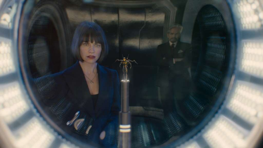 Marvel's Ant-Man..L to R: Hope Van Dyne (Evangeline Lilly), the Yellowjacket suit, and Hank Pym (Michael Douglas)..Photo Credit: Film Frame..© Marvel 2015