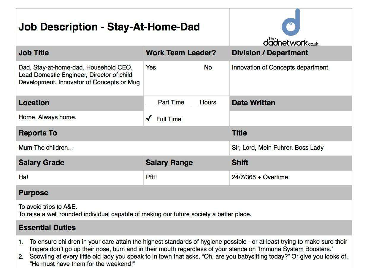 Become a Stay At Home Dad - The Official Job Description & Application Process, SAHD Job Descriptionjpeg2 1%, new-dad%