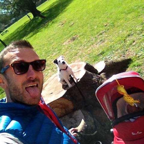 Dad, dog & baby