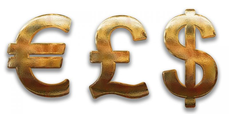 Euro Pound Dollar signs