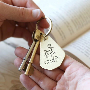 20 presents your Dad wants for Father's Day!, normal personalised your drawing antiqued brass keyring%, daily-dad, lifestyle, featured%